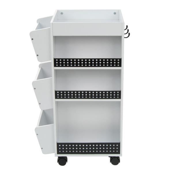 Studio Designs 21.75 in. W x 14.25 in. D x 34.5 in. H Swivel 3-Shelf PB Utility Craft Mobile Cart 4-Wheeled in White