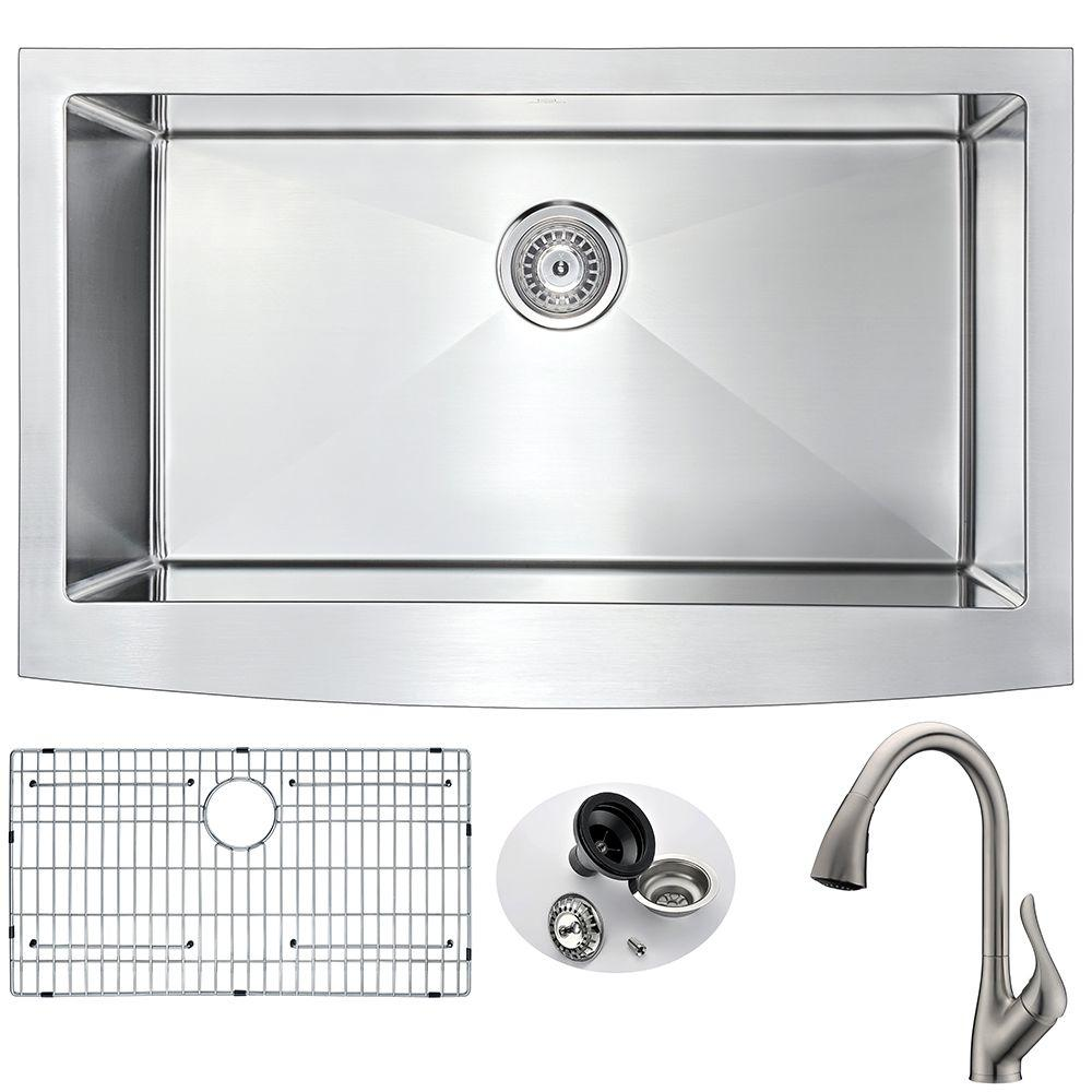 ANZZI ELYSIAN Farmhouse Stainless Steel 32 in. 0-Hole Kitchen Sink ...