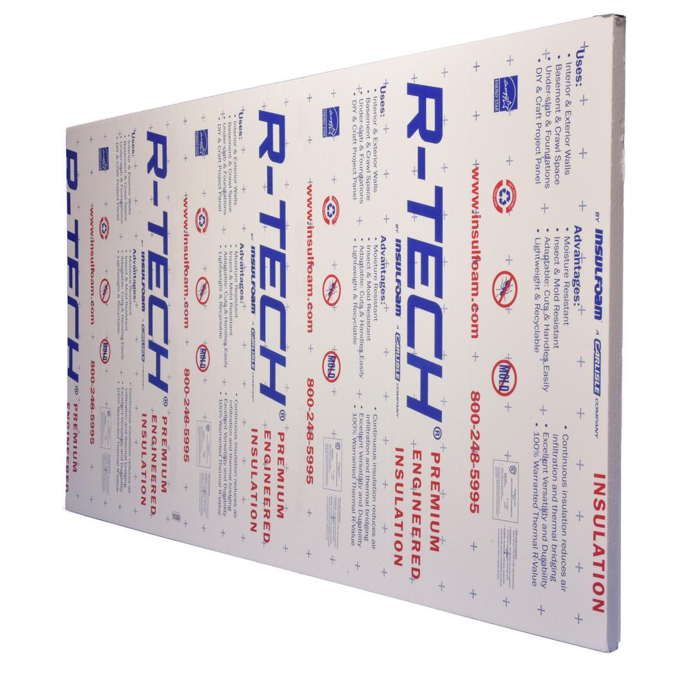 R Tech 1 2 In X 4 Ft X 8 Ft R 1 93 Insulating Sheathing 320810 The Home Depot