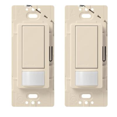 Ivory Almond Eaton VS310R-C1-K Motion-Activated Vacancy Sensor Dual Wall Switch with Color Change Kit White
