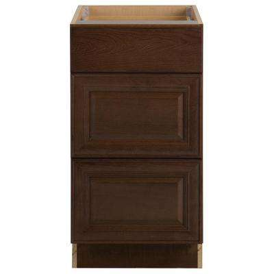 Benton Assembled 18x34.5x24 in. Base Cabinet with 3-Soft Close Drawers in Butterscotch