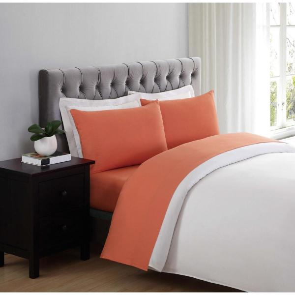Truly Soft Truly Soft Orange 4 Piece Solid 180 Thread Count Microfiber King Sheet Set Ss1658orkg 4700 The Home Depot