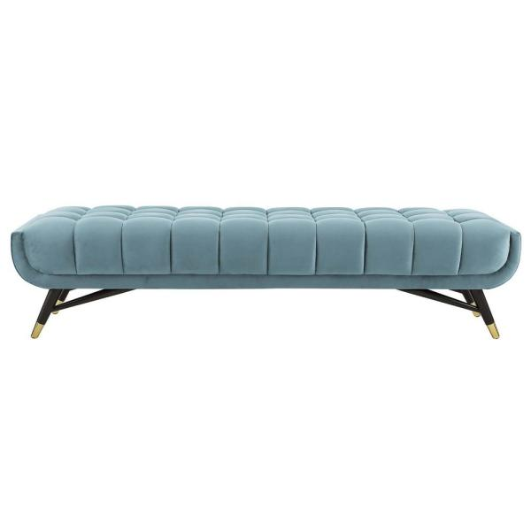 MODWAY Adept Sea Blue Upholstered Velvet Bench EEI-3061-SEA