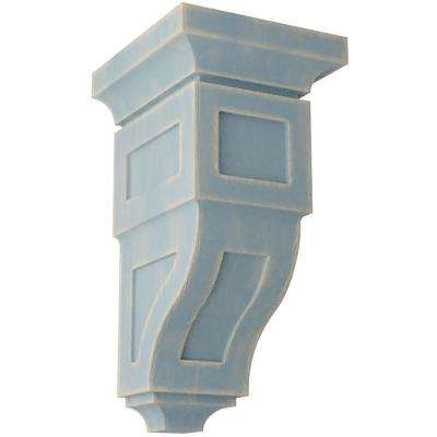 6 in. x 12 in. x 6-3/4 in. Driftwood Blue Large Reyes Wood Vintage Decor Corbel