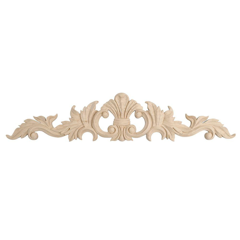 American Pro Decor 3-7/8 in. x 18-1/4 in. x 1/2 in. Unfinished Hand Carved Solid American Hard Maple Wood Onlay Acanthus Wood Applique