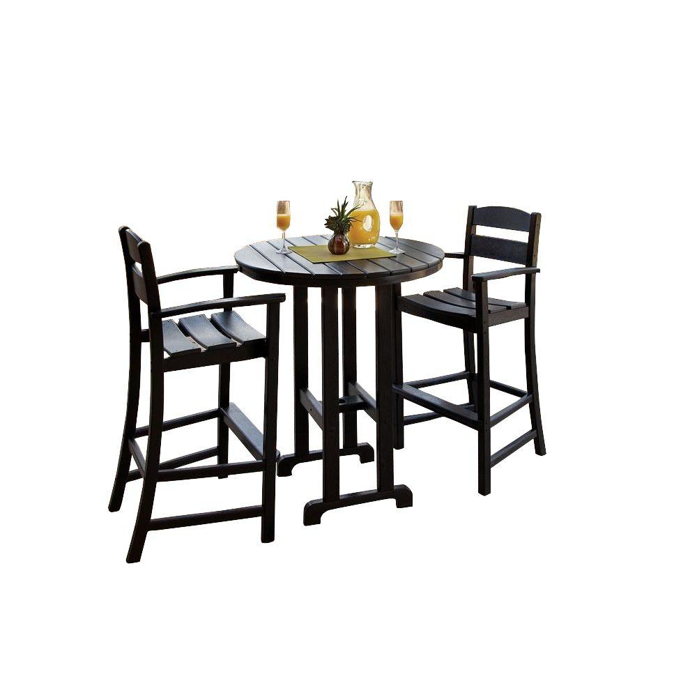 Clics Black 3 Piece Plastic Outdoor Patio Bar Set