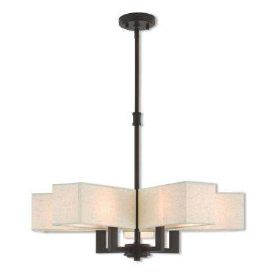 Rubix 5-Light Bronze Chandelier with Oatmeal Color Fabric Outside and White Fabric Inside Hardback Shades