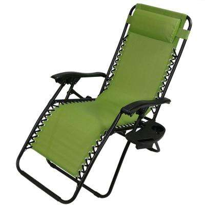 Zero Gravity Green Sling Lawn Chair with Pillow and Cup Holder