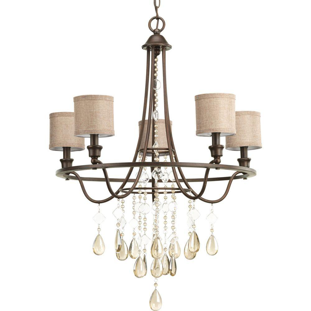 Progress Lighting Flourish Collection 5 Light Cognac Chandelier With Linen  Shade P4805 72   The Home Depot