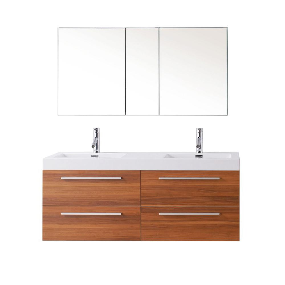 Virtu USA Finley 54.33 in. W Double Basin Vanity in Plum with Poly-Marble Vanity Top in White with White Basin