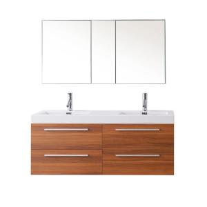 Virtu USA Finley 54.33 inch W Double Basin Vanity in Plum with Poly-Marble Vanity Top in White with White Basin by Virtu USA