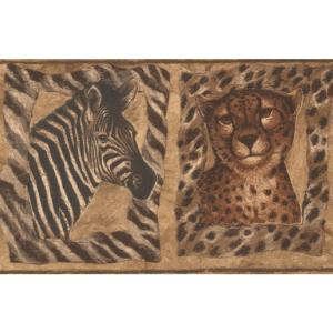 Tiger Zebra Giraffe Pictures on the Brown Wall Animal Prepasted Wallpaper  Border