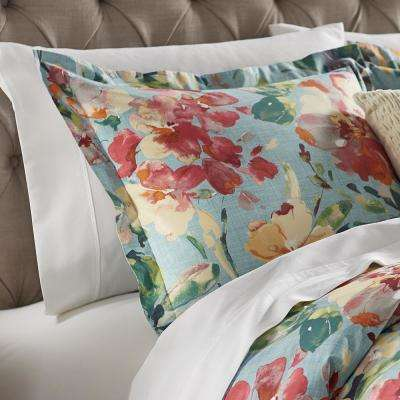 Garden Bloom Blue and Multi Euro Pillow Sham
