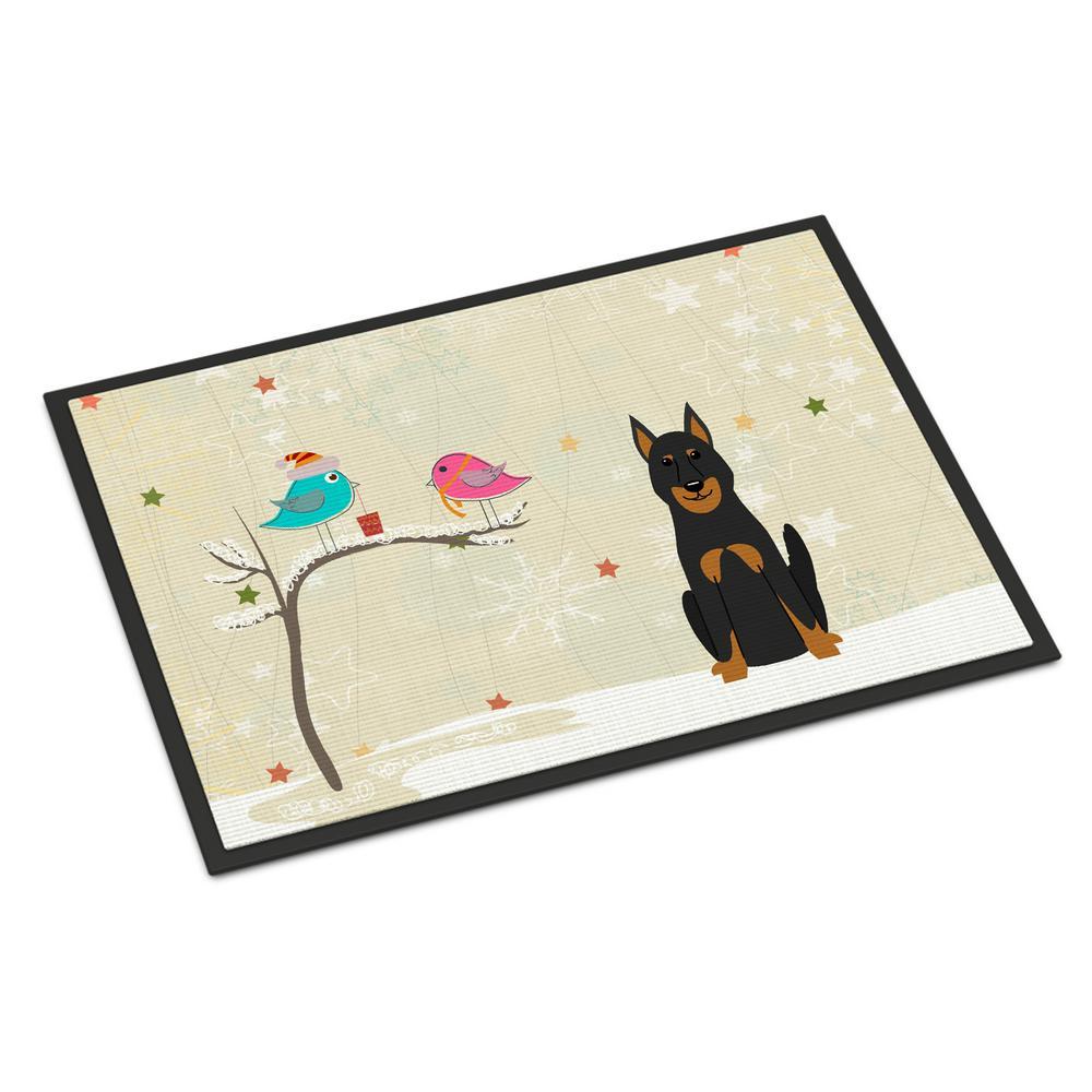 24 in. x 36 in. Indoor/Outdoor Christmas Presents between Friends Beauce Shepherd Dog Door Mat