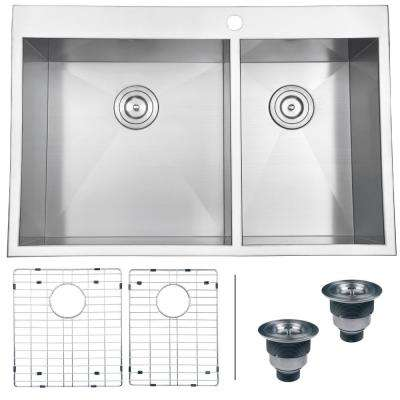 Drop-in Stainless Steel 33 in. 60/40 16-Gauge Double Bowl Kitchen Sink