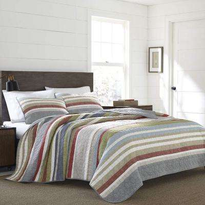 Salmon Ladder Multi-Colored Full/Queen Quilt Set (3-Piece)