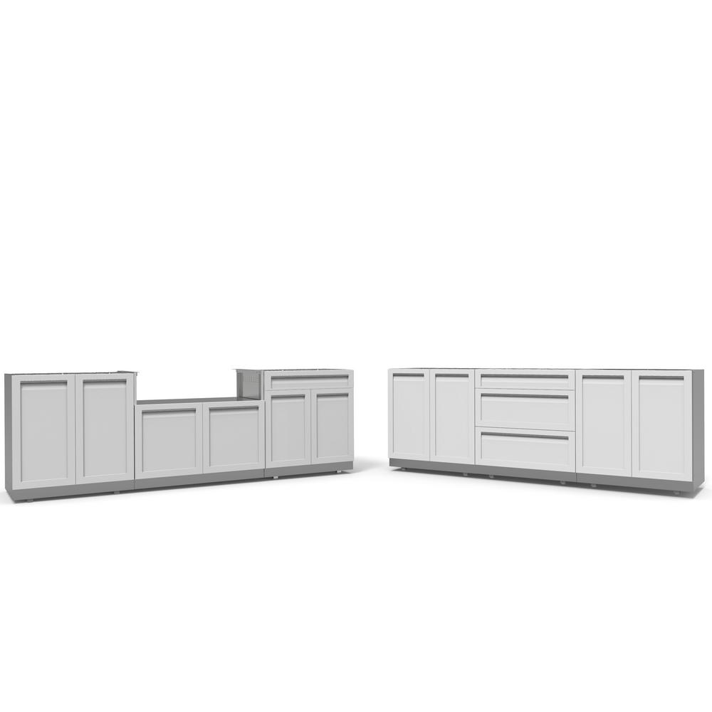 White Kitchen Cabinets Set: 4 Life Outdoor Stainless Steel 6-Piece 200 In. W X 36 In