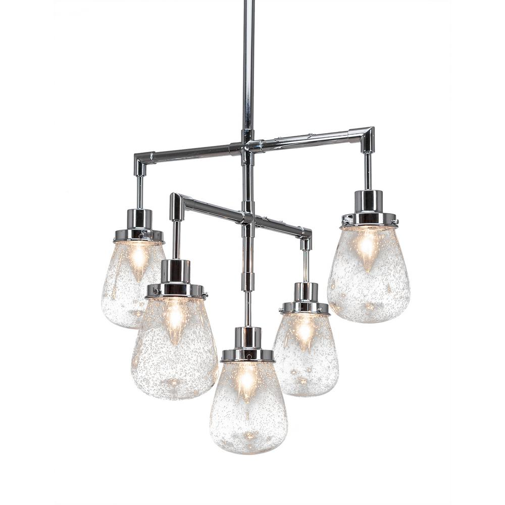 Filament Design 5 Light Chrome Chandelier With In Clear Bubble Gl