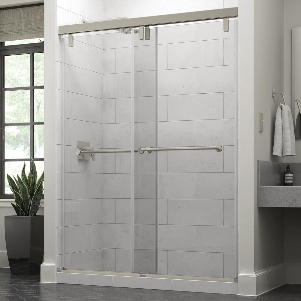 Delta Delta Everly 60 x 71-1/2 in. Frameless Mod Soft-Close Sliding Shower Door in Nickel with 3/8 in. (10mm) Clear Glass