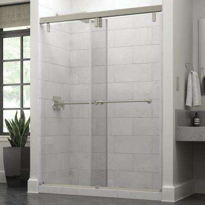 Everly 60 in. x 71-1/2 in. Semi-Frameless Mod Sliding Shower Door in Nickel with 3/8 in. (10mm) Clear Glass