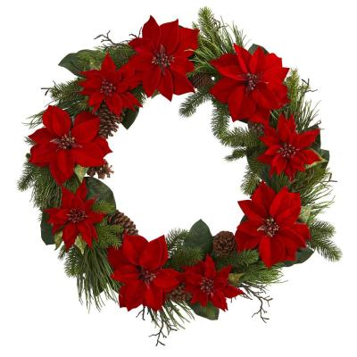 36 in. Poinsettia and Pine Wreath