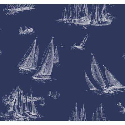 Sailboat Toile Wallpaper