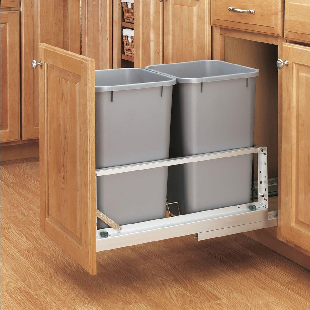 Rev-A-Shelf 18.94 in. H x 11.69 in. W x 22.25 in. D Double 27 Qt. Pull-Out Brushed Aluminum and Silver Waste Container