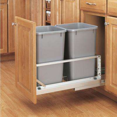 18.94 in. H x 11.69 in. W x 22.25 in. D Double 27 Qt. Pull-Out Brushed Aluminum and Silver Waste Container