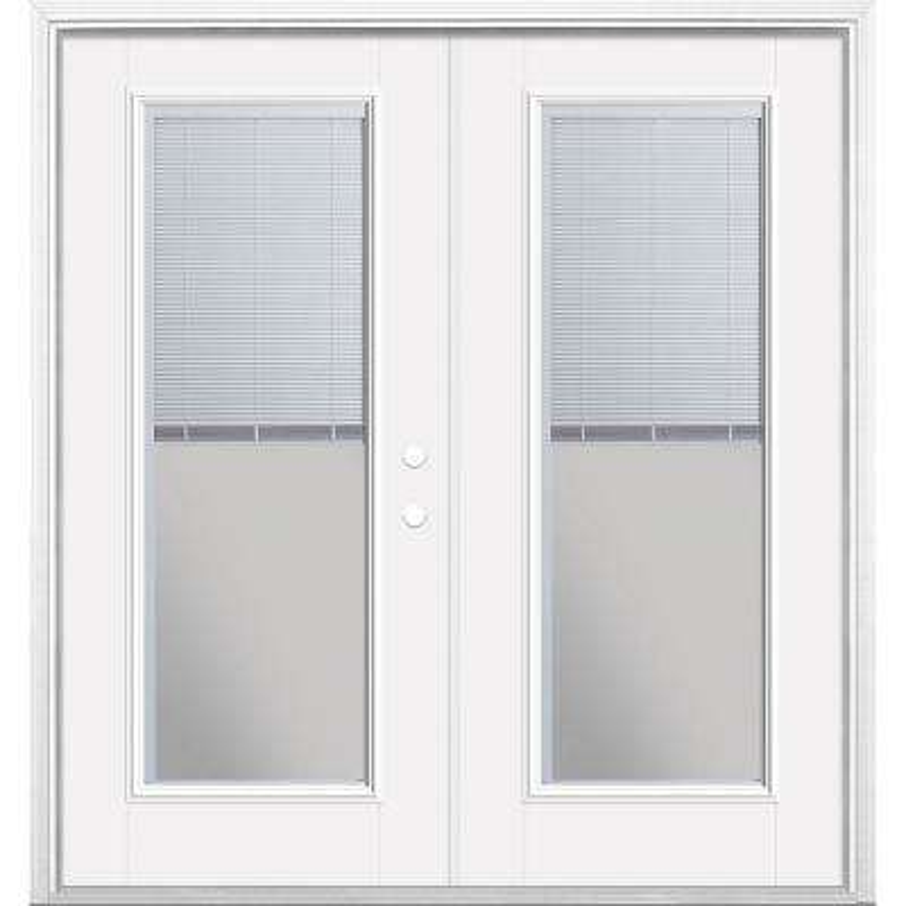 72 in. x 80 in. Primed White Fiberglass Prehung Left-Hand Inswing Mini Blind Patio Door w/ Brickmold, Vinyl Frame