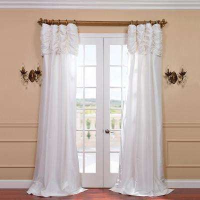 Eggshell White Ruched Faux Solid Taffeta Light Filtering Curtain - 50 in. W x 108 in. L