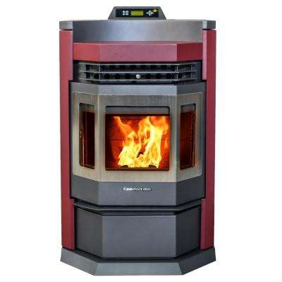 2800 sq. ft. EPA Certified Pellet Stove with 80 lbs. Hopper and Programmable Thermostat in Burgundy