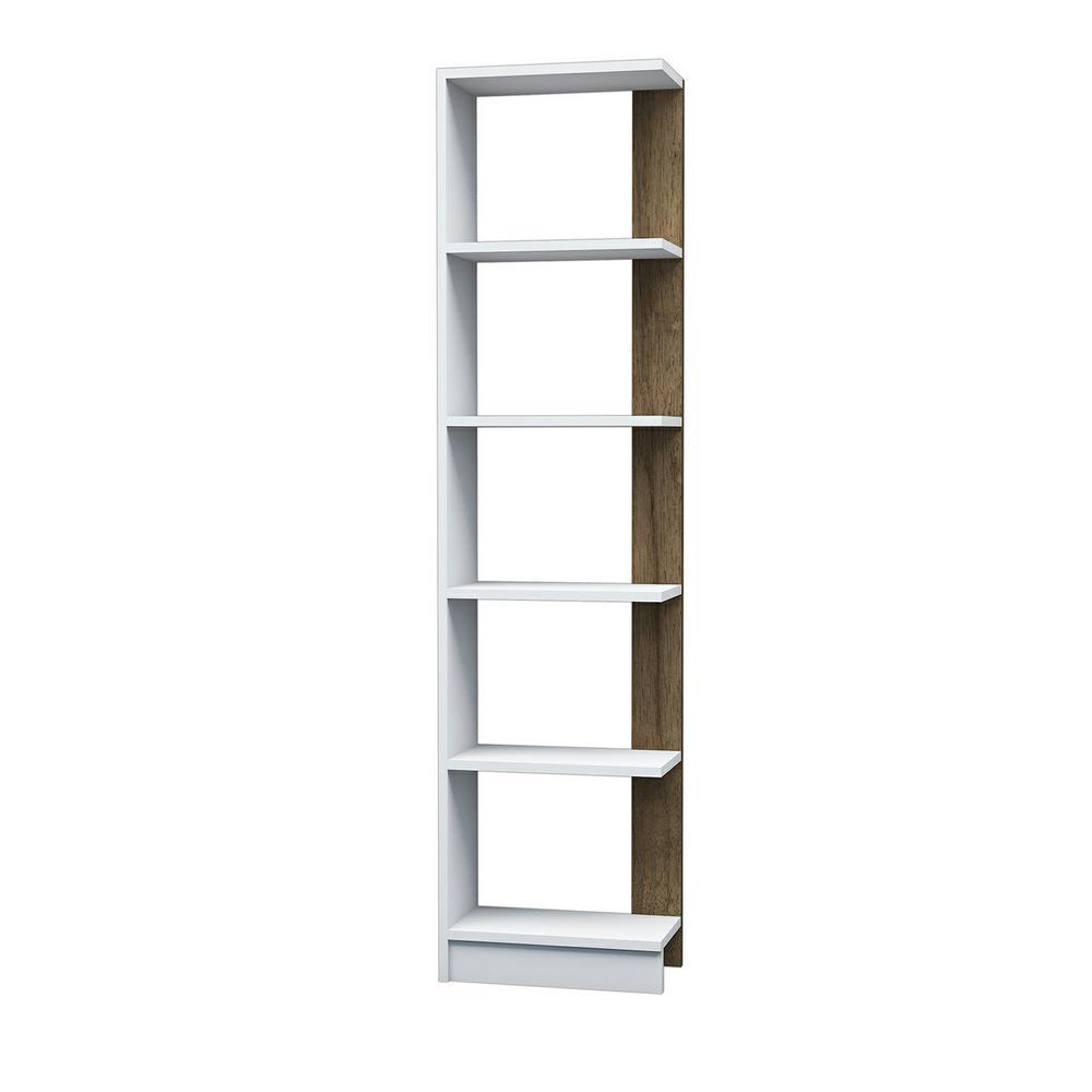 Bowen White and Walnut Modern Bookcase