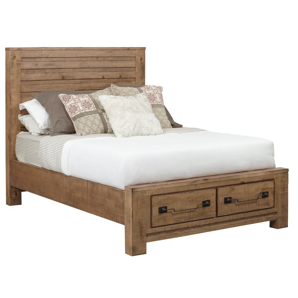 Windsor Caramel Queen Complete Storage Bed
