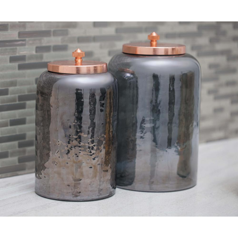 Cylindrical smoked gray glass jar with rose gold iron lid for Designer glass jars