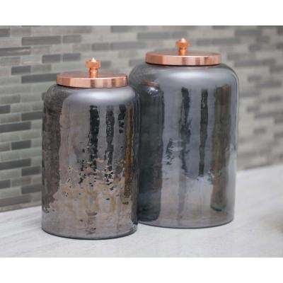 Cylindrical Smoked Gray Glass Jar with Rose Gold Iron Lid (Set of 2)