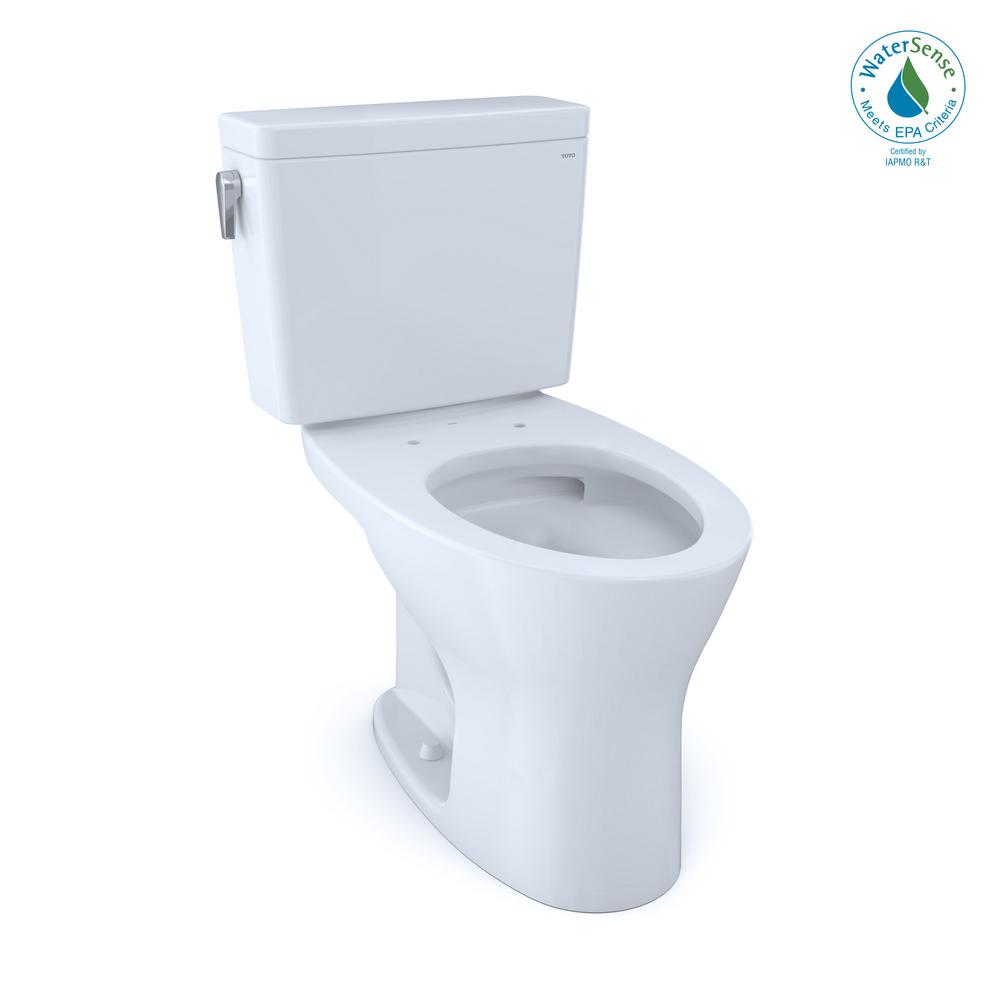 TOTO Drake 2-Piece 1.28 and 0.8 GPF Dual Flush Elongated Toilet in Cotton White for 10 in. Rough-In