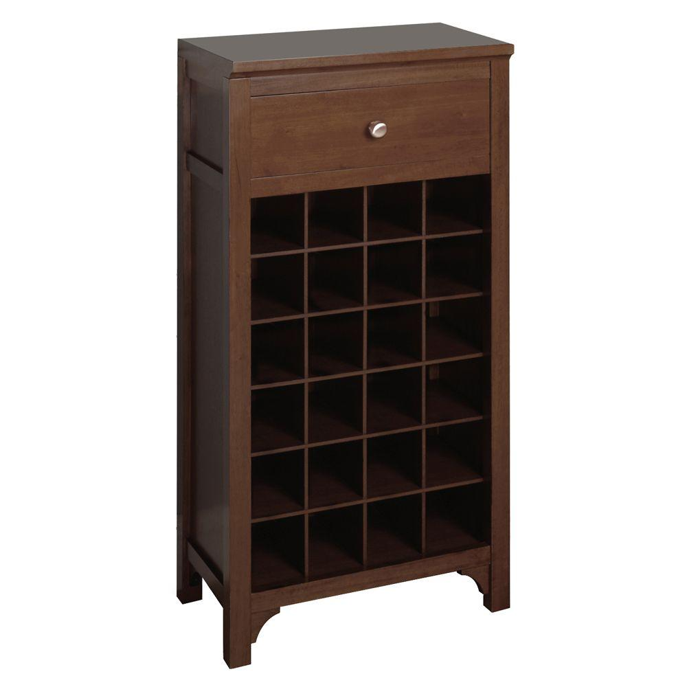 Winsome Wood 24-Bottle Antique Walnut Modular Wine Cabinet-DISCONTINUED