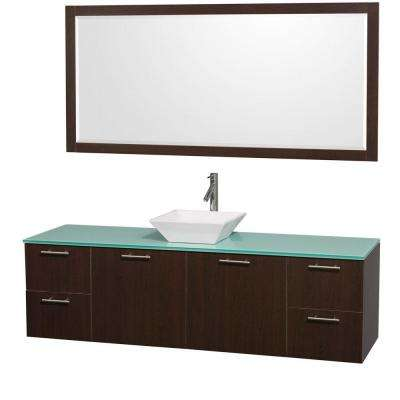 Amare 72 in. Vanity in Espresso with Glass Vanity Top in Aqua and White Porcelain Sink