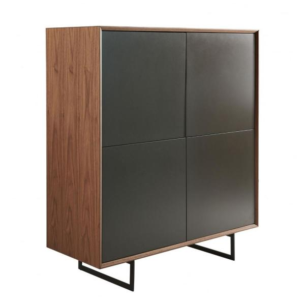 Amelia Dark Gray MDF Lacquered Doors Accent Cabinet