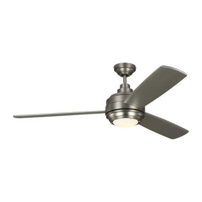 TOB by Thomas O'Brien Aerotour 56 in. Integrated LED Indoor Satin Nickel Ceiling Fan with Silver Blades and Light Kit