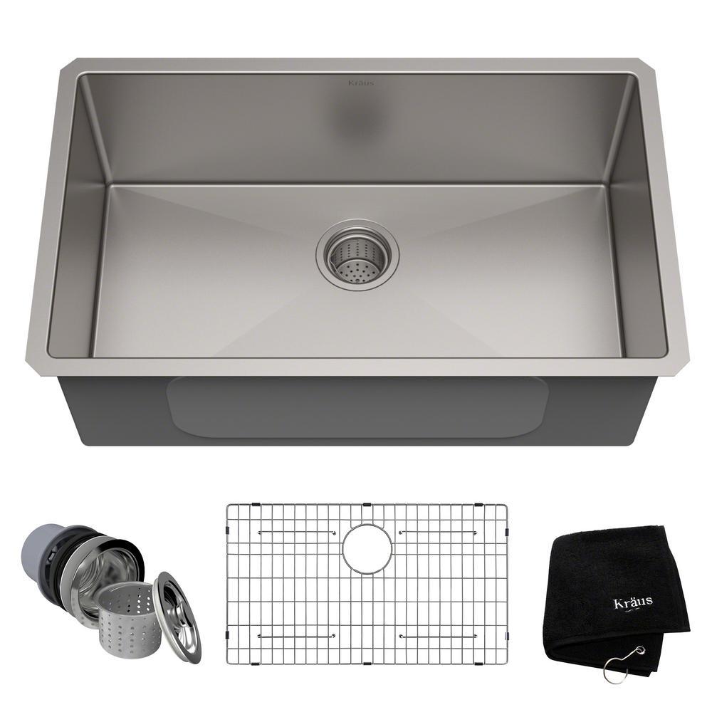 Kraus Standart Pro 30in 16 Gauge Undermount Single Bowl Stainless Steel Kitchen Sink