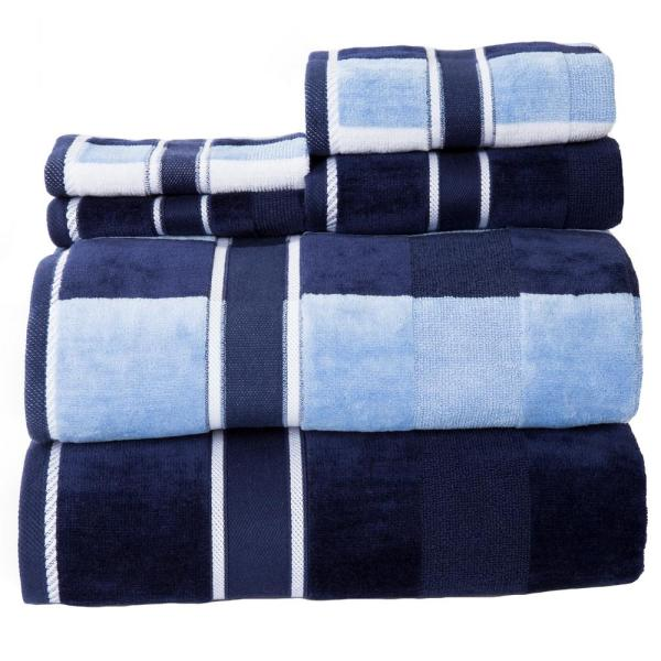 Lavish Home 100% Cotton Oakville Velour Towel Set in Navy (6-Piece)