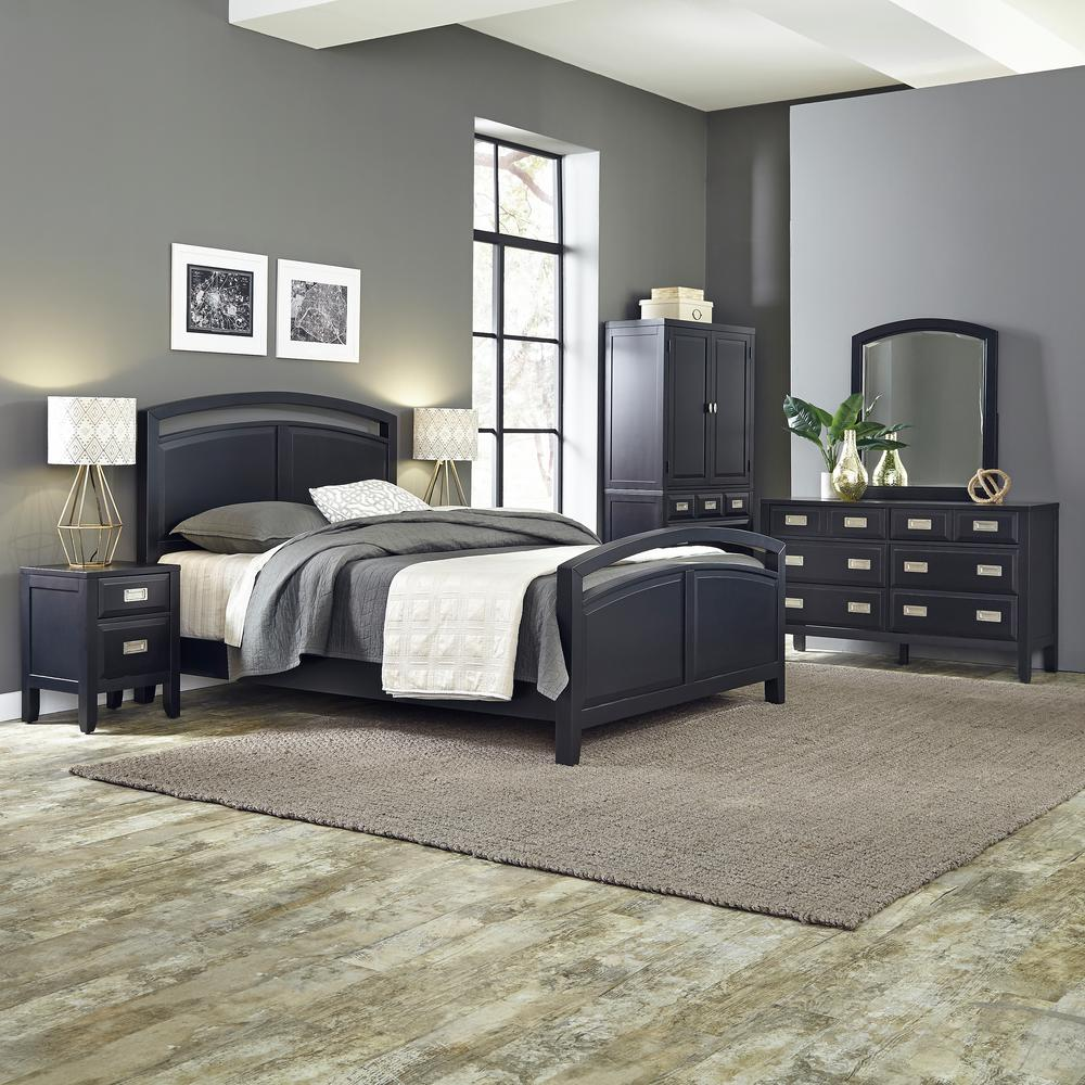 home styles prescott 5 piece black queen bedroom set 5514 5020 the home depot. Black Bedroom Furniture Sets. Home Design Ideas