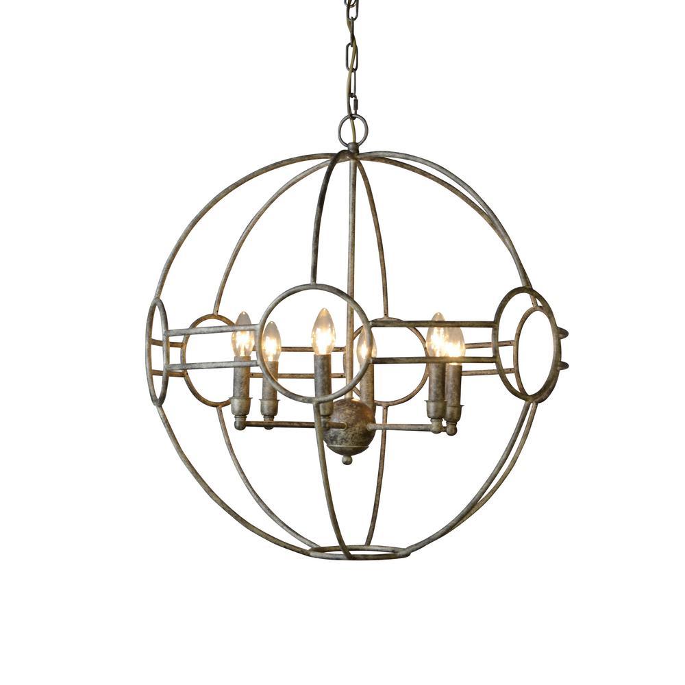 Y decor 6 light vintage taupe finish chandelier lz3038 for Chandelier mural antique