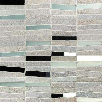 Reflection Trapezoid White 11.73 in. x 14.29 in. x 9 mm Quartz and Mirror Mosaic Tile