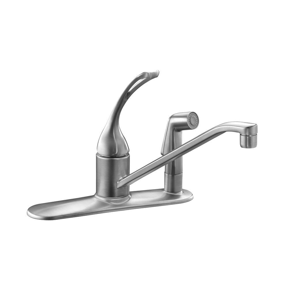 Kohler Coralais Single Handle Standard Kitchen Faucet With Side Sprayer In Brushed Chrome K