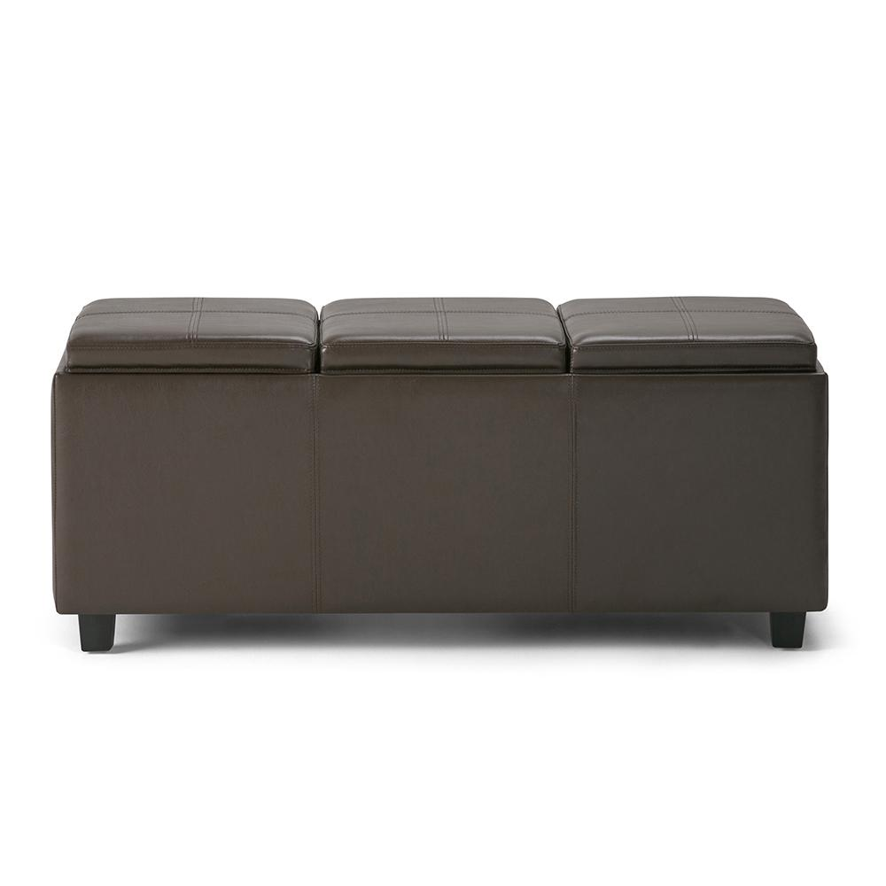 simpli home avalon chocolate brown extra large storage ottoman bench with 3 serving trays. Black Bedroom Furniture Sets. Home Design Ideas