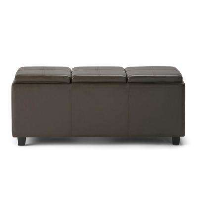 Avalon Chocolate Brown Extra Large Storage Ottoman Bench with 3-Serving Trays