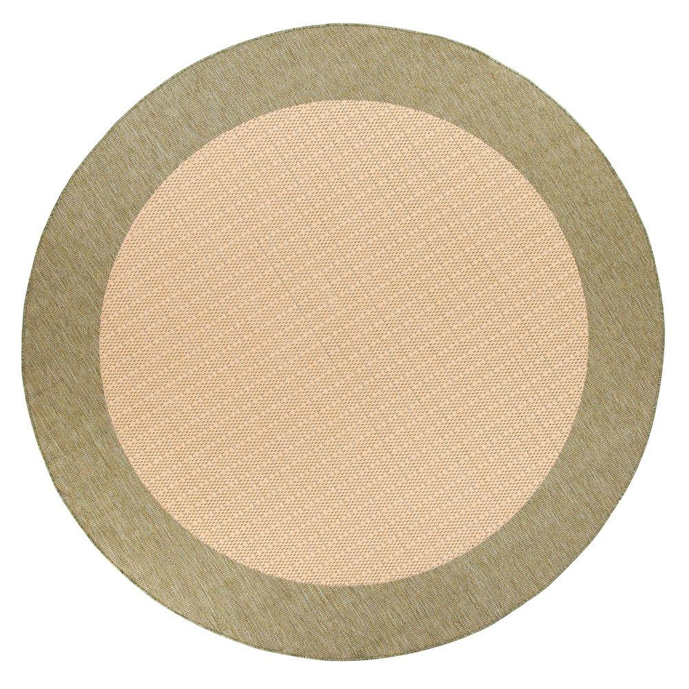 Checkered Field Natural/Green 8 ft. 6 in. Round Area Rug