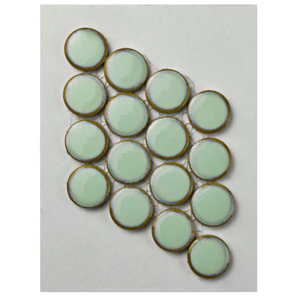 Hudson Penny Round Light Green Porcelain Mosaic Tile - 3 in. x 4 in. Tile Sample